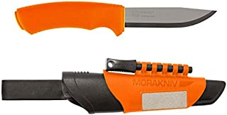 Morakniv Bushcraft Stainless Steel 4.3-Inch Fixed-Blade Survival Knife with Fire Starter and Sharpener