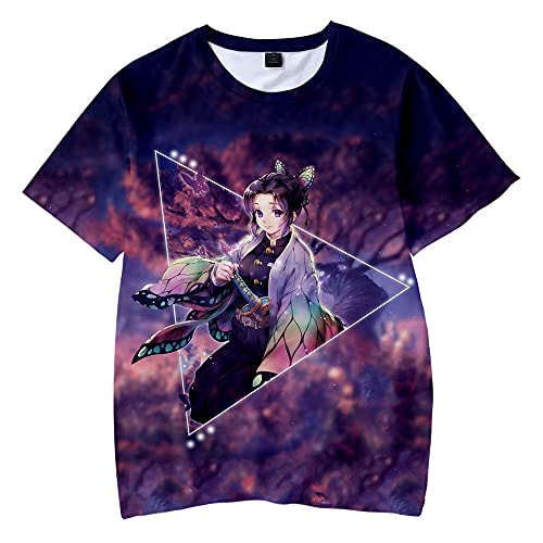 Yumenam Unisex Demon Slayer Anime Maglietta 3D Stampato Manica Corta T-Shirt Tops Estate Casuale Cosplay Tops Sportswear Sister Nezuko Zenitsu Agatsuma Kimetsu No Yaiba
