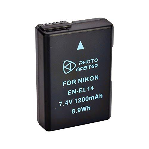PHOTO MASTER EN-EL14 EN-EL14a Ersatz Akku (1200mAh) für Nikon D3100, D3200, D3300, D5100, D5200, D5500, Coolpix P7000, P7100, P7700, P7800 DSLR-Kamera