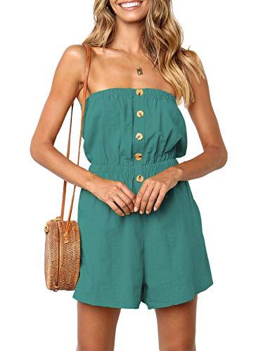 ZESICA Women's Summer Off Shoulder Strapless Solid Color Button Down Elastic Waist Short Jumpsuit Romper Light Green