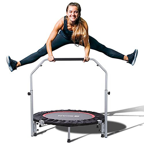 """BCAN 40"""" Foldable Mini Trampoline, Fitness Rebounder with Adjustable Foam Handle, Exercise Trampoline for Adults Indoor/Garden Workout Max Load 330lbs"""