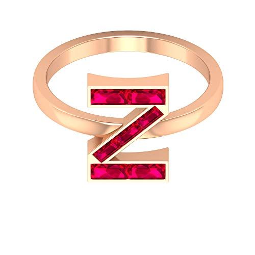 Rosec Jewels 14 quilates oro rosa baguette Red