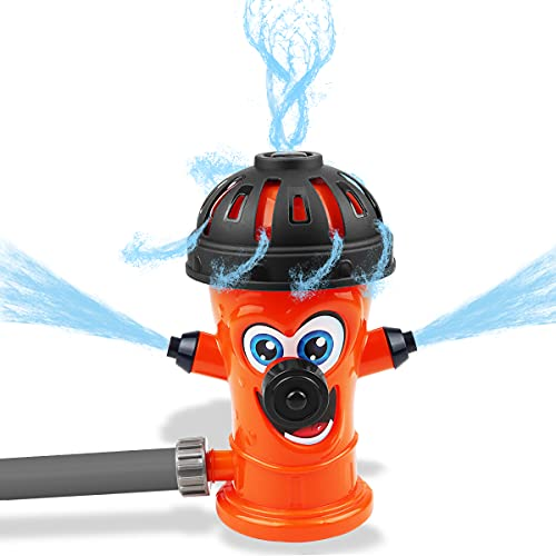 Libay Sprinkler for Kids Outdoor Water Play, Fire Hydrant Swirl Spinning Splash Sprinkler Toy for Yard and Lawn Attaches to Garden Hose, Summer Fancy Gift for Toddlers Boys Girls Pets
