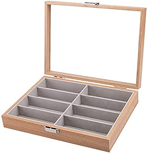 T.T-Q Caja de Gafas de Madera de 8 dígitos Cajas para Relojes Caja de Almacenamiento Caja de empaquetado de exhibición Caja de colección Regalo de cumpleaños 34.5 * 25.5 * 7.5cm