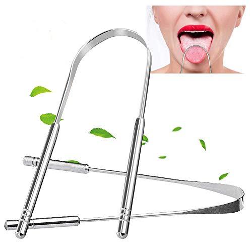 2 Stück Zungenreiniger gegen Mundgeruch, 100% Edelstahl, Zungenschaber Zungebürste, Förderung der Mundgesundheit