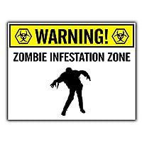 警告ゾンビ侵入ゾーン 金属板ブリキ看板警告サイン注意サイン表示パネル情報サイン金属安全サイン