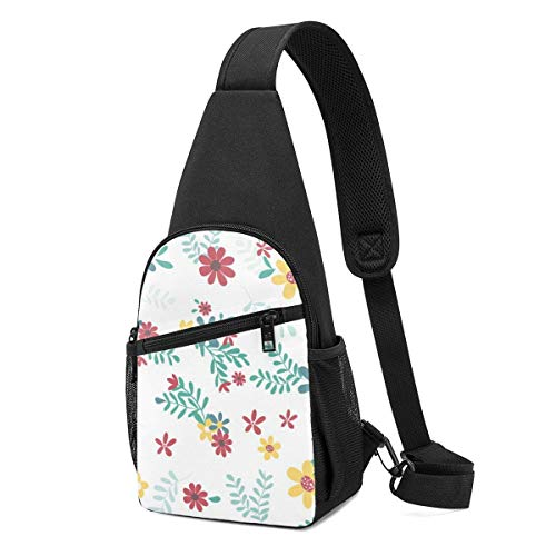 GIERTER Colourful Spring Flower Pattern Seamless Sling bag,Lightweight Backpack chest pack crossbody Bags Travel Hiking Daypacks for Men Women