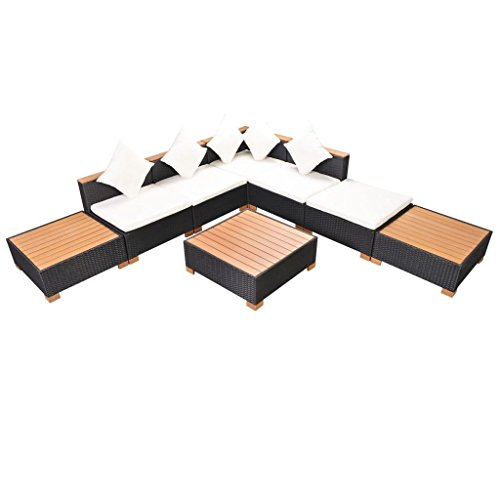 SSITG Jardin 18 pièces en rotin WPC Noir Ensemble de jardin lounge Set