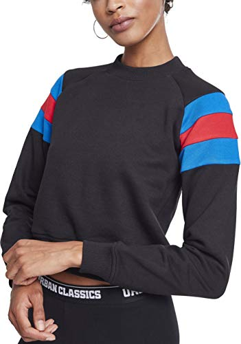 Urban Classics Ladies Sleeve Stripe Crew Sudadera, Multicolor (Black/Brightblue/Firered 01558), X-Small para Mujer