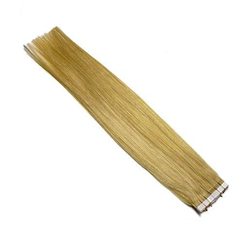 20 Tape In Extensions (Lisses) 30 cm - Vrais Cheveux - 30 g pour collage, Couleur:Blond doré