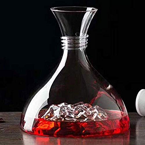 Tcbz Decantador de Vino Aireador Diseño en Forma de Iceberg Garrafas de Vino Vaso de Cristal soplado a Mano sin Plomo 60.8 Oz Elegante Juego de decantadores de Vino Tinto y Licor