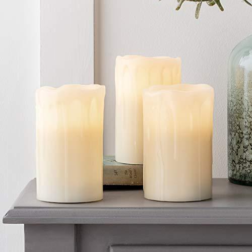 3er Set LED Echtwachs Kerzen Timer warmweiß batteriebetrieben Lights4fun