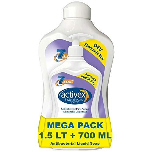 Activex Antibacteriële Vloeibare Zeep (1.5 Lt + 700 Ml) Antibacterieel Handzeep & Antibacterial Zeepdispenser (2.2 L Total) Desinfecterend - Praktische Voordeelverpakking Bacteria Blocking System - Hand Zeep & hand wassen & Liquid Soap & Hand Wash