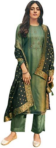 Exotic India Moon-Gray Palazzo Salwar - Traje Kameez con bordado Zari y Dupatta tejido negro