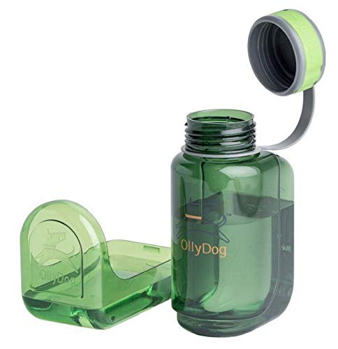 OllyDog OllyBottle, Travel-Friendly, Portable Dog Water Dispenser Bottle for Big Hikes or Long Trips, Non-Toxic, BPA Free, 600ml, Grass