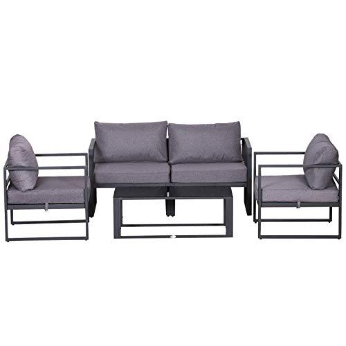 Outsunny Vierteiliges Gartenmöbel Set, Sitzgruppe, Sofa mit Sitzkissen, Tisch mit Stauraum, Polyester, Grau, 138 x 69 x 63 cm