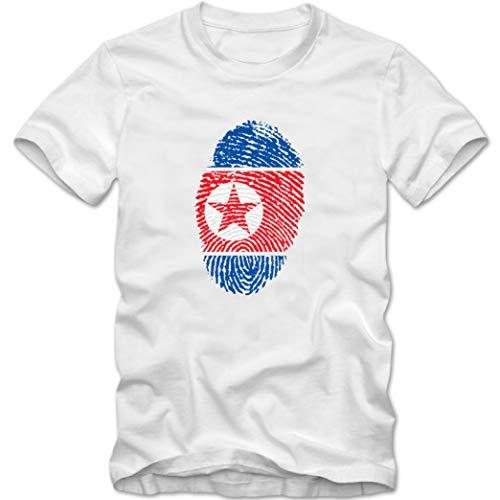 Herren T-Shirt North Korea Nordkorea Fußball Trikot Fingerabdruck WM, Farbe:Weiss, Größe:XL