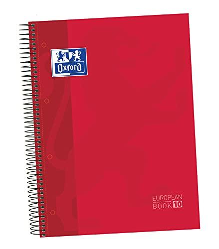 Oxford - Cuaderno microperforado 10 bandas color, Europeanbook 10, tapa dura, A4, 150 hojas, cuadrícula 5 x 5, color rojo