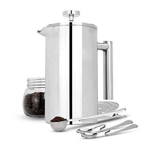 Maison & White Presse française Cafetière | Machine à café en acier inoxydable | FREE Extra Filters / Cuillères à mesurer / Clip pour sachets| 1000ml
