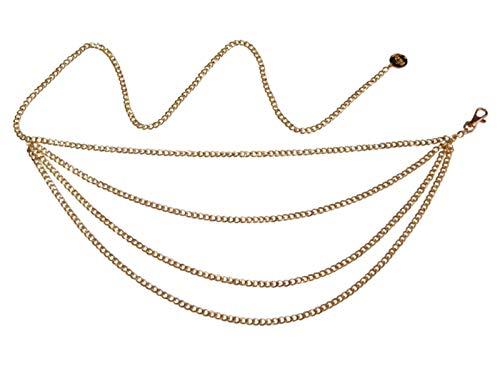 XIRENZHANG Sexy Body Kette Quaste Multilayer Körperkette Frauen Gold Gürtel Anhänger Bauchnabel Kette Einstellbare Brustgurt, Geeignet für Jeans Kleid