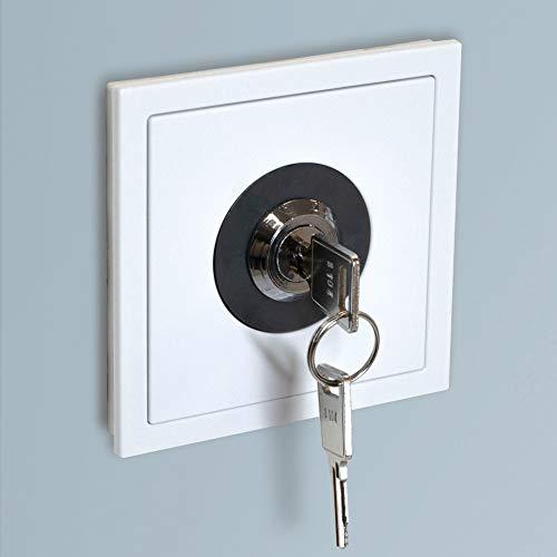 UNITEC Steckdosenschloss für Schutzkontakt-Steckdose, 2 Schlüssel, Schutz vor Energiediebstahl, Steckdosensicherung