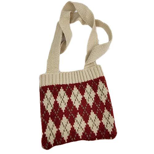 Gestricktes Schultertasche Plaid Wallet Wallet Crochet Crossbody Beutel-Kind-Geschenk