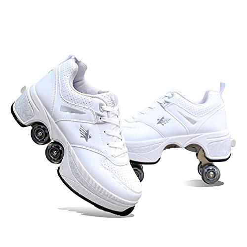 HANHJ Zapatillas Patinaje Doble Fila Kid Four Ruedas Extraíbles Patines Ruedas Mujer Adulto Zapatillas Deporte Casuales Zapatillas Correr 2-en-1 Skate Shoes,C-41