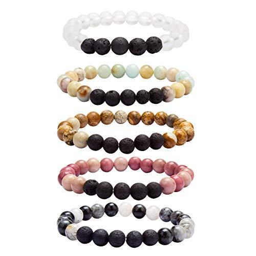 YISSION Essential Oil Bracelets Lava Rock Stone Matt Semi Precious Gemstone Bracelet for Man Women Girls Stretch Anxiety Bracelet Set for Work School Yoga Gifts