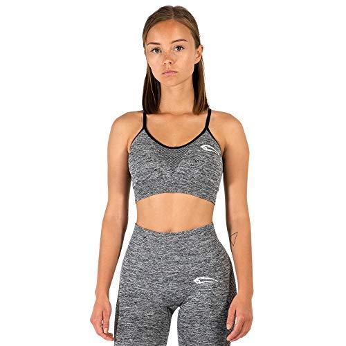SMILODOX Seamless Damen Sports Bra Catch | Sport- BH für Sport Fitness & Freizeit | Sport BH Slim fit Look, Größe:S, Farbe:Anthrazit