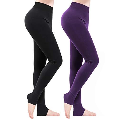 Weeygo 2 Pares Leggings para Mujer, Cálidas de Invierno Pantalones de Talle, Elásticos Cintura Alta Forrado de Terciopelo Grueso Calientes Bragas, Leggings Térmicos Medias para Niña