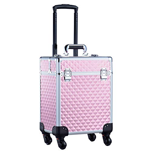 Joligrace Professional Makeup Trolley Cosmetic Vanity Box Make Up Organiser Beauty Rolling Case with Universal Wheels and Key Locks One Tier - Pink