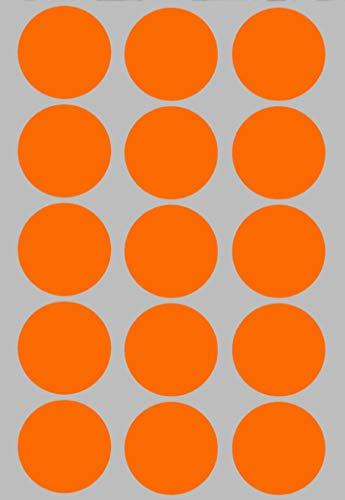 Royal Green Bollini Adesivi Rotondi Colore Arancione Fluorescente 30 mm - Confezione da 225 Pezzi