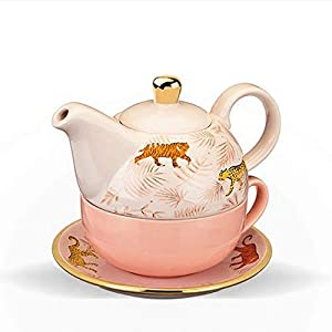 Pinky Up Tea for One Set Addison Bangladesh, Pink, Gold and White