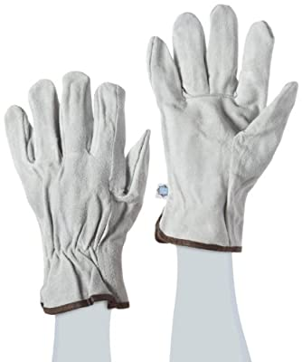 West Chester Split Cowhide Leather Unlined Driver Glove, Work, Shirred Elastic Wrist Cuff