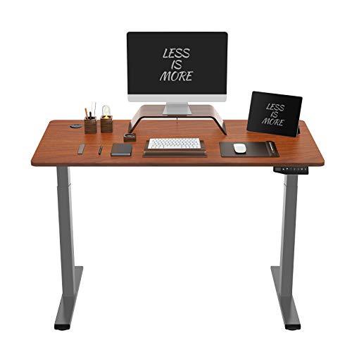 Flexispot ED2 Elektrisch Höhenverstellbarer Schreibtisch mit Tischplatte. Mit Memory-Steuerung und Softstart/-Stop& integriertes Anti-Kollisionssystem. (Mahagoni+Sliber, 120 x 60 cm)