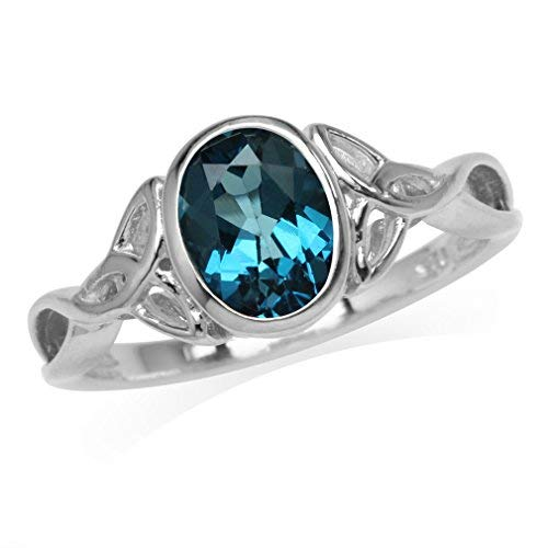Silvershake 1.46ct. 8X6mm Genuine Oval Shape London Blue Topaz 925 Sterling Silver Triquetra Celtic Knot Ring Size 9