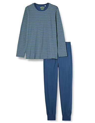 Sanetta Jungen Pyjama Long Blue Schlafanzug in Blau mit Ringel-Look, 152