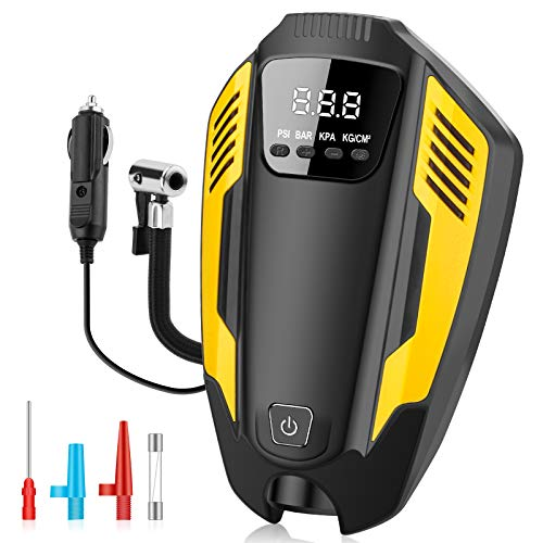 Digital Tyre Inflator Air Compressor, 12V 150PSI Air Pump for Car Tires, Bicycles and Other Inflatables, Auto Tire Inflator with Larger Air Flow, LED Light, 3 Nozzle Adaptors, 11ft Long Power Cord