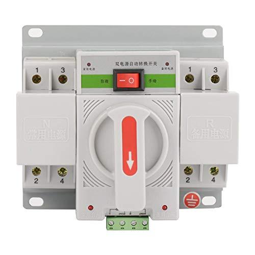 Interruptor de Transferencia Automática Interruptor Disyuntor Interruptor de Cambio de Generador de Energía Electrónico Dual Interruptor de Transferencia 220V 63A 2P