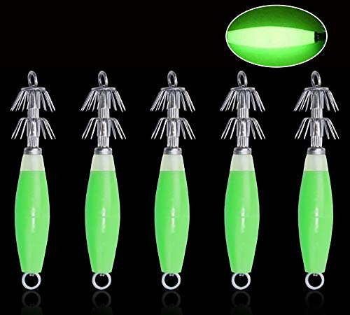 Fluorescent Squid Jig Hooks Cuttlefish Sleeve Fishing Lure Bait Head Hooks Luminous Octopus Lure Glow in Dark 5pcs/8pcs