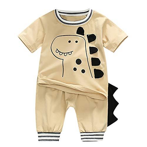 Baby Jungen Kleidung Set Kurzarmshirt Trousers Zweiteilig Anzug Kleinkind Kinder Cartoon Dinosaurier T-Shirt Tops + Hosen Outfits Set, Brown, 12-18 Monate