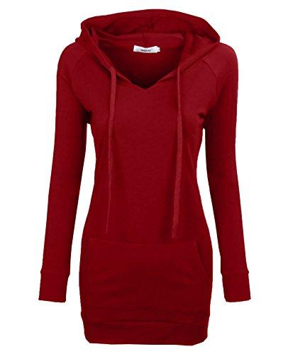 BEPEI Women Tops,Feminine Detail Slim Fit Tunic Blouses Cozy Shirt Extra Long for Leggings Blusas Sweatshirts Spring Hoodie Dress Red L