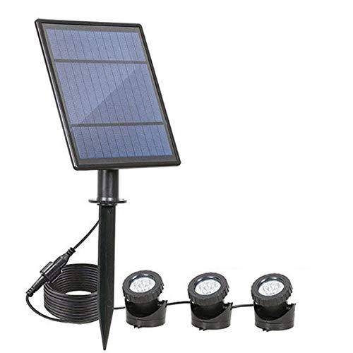 Yissone Solar Pool Spotlight LED Teich Unterwasserlampe Kit wasserdichte RGB Außenbeleuchtung für Garten Hof Wand Weg (3 Köpfe)