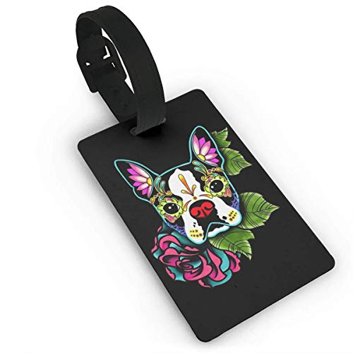 liang4268 Kofferanhänger Tatoo Boston Terrier Luggage Tag Suitcase Labels Bag Travel Accessories ID Cards for Luggage Baggage Travel Identifier Colorful Graphic for Baggage Suitcase Tags Bulk