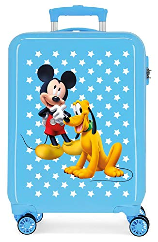 Disney Mickey & Pluto Stars Maleta de Cabina Infantil Azul 55x38x20 cm   Equipaje de Mano, Trolley de Viaje Ryanair, Easyjet   Maleta de Viaje Fin de Semana Rígida Divertida