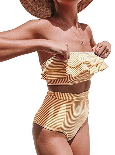 JFAN Costumi da Bagno da Donna a Fascia Alta a 2 Pezzi con Taglio Alto Senza Spalline Costumi da Bagno a Vita Alta