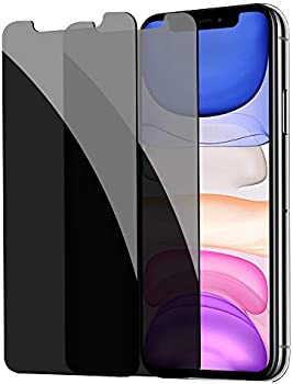 2-Pack YMHML Anti-Spy Bubble Free Case Tempered Glass