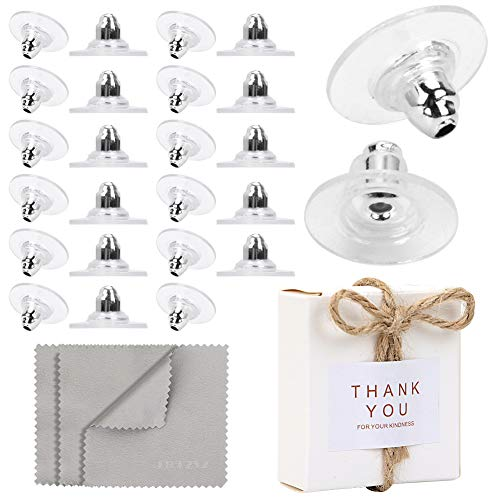 Premium Upgrade Soft Silicone Earring Backs, JJKKZVZ Earring Safety Backs Clear Bullet Eearring Backs (Silver Plated Color), 120 Pcs Earring Backs Stopper with Jewelry Cleaning Cloth