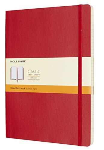 Moleskine - Carnet de Notes Classique Papier à Rayures - Journal Couverture Souple et Fermeture par Elastique - Couleur Rouge Écarlat - Très Grand Format 19 x 25 cm - 192 Pages