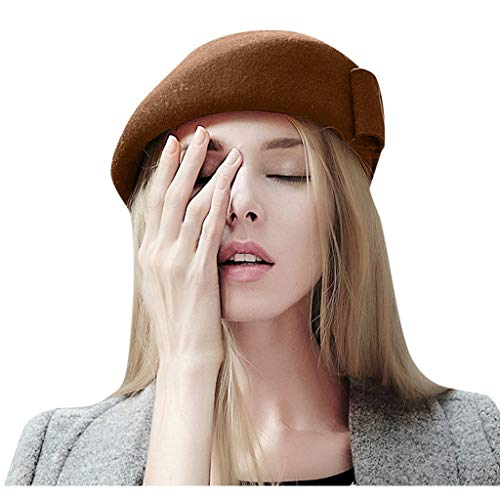 Best Price! TozuoyouZ Beret Hat French Artist Beanie Cap Solid Color Bow-Knot Winter Hat for Women a...